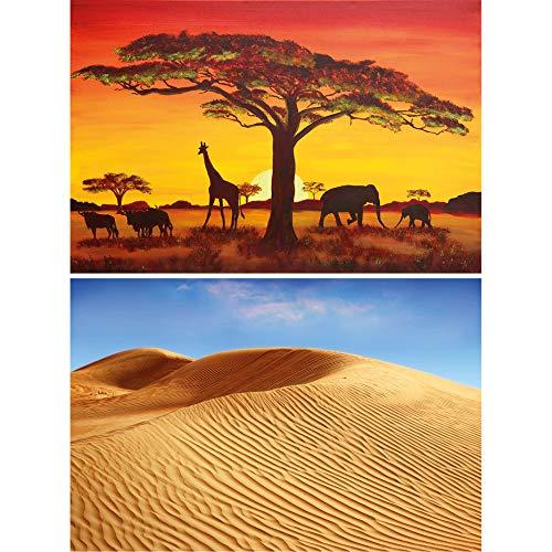 GREAT ART Set de 2 carteles XXL habitación niños | 140 x 100 cm | Paisajes africanos paisaje dunas sabana y desierto estepa animales | Foto Póster de Pared Mural Imagen Decoración