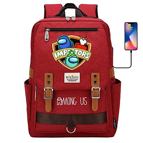 Among Us - Mochila escolar para ordenador portátil para niños y niñas, unisex, ligera de 20 l, mochila de día de lona, diseño de dibujos animados, rojo, 09,
