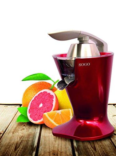 SOGO Exprimidor Eléctrico de zumo para cítricos Con filtro para pulpa y palanca SS-5295-R, Color:...