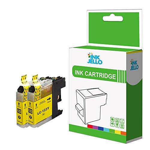 InkJello - Cartucho de Tinta Compatible para Impresora Brother DCP-J152W DCP-J4110DW DCP-J552DW DCP-J752DW MFC-J4410DW MFC-J4510DW MFC-J4610DW MFC-J470DW LC-123 (2 Unidades), Color Amarillo