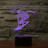 Lucsiky Luz de Noche 3D-Sprint Surf-7 Colores táctiles Control Remoto iluminación de cabecera Juguete para niños Halloween Regalo de cumpleaños de Navidad