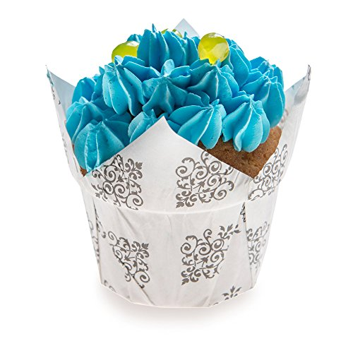 Panificio Premium 1.2-oz Baking Cups: Regular-Petal Paper Baking Cups Perfect for Muffins, Cupcakes or Mini Snacks - Vintage Floral Design - Disposable and Recyclable - 200-CT