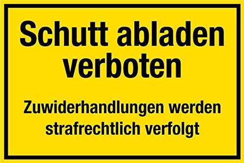 Baustellenschild - Schutt abladen verboten - Kunststoff - 20 x 30 cm