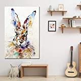 Geiqianjiumai Acuarela Abstracta Animal Pintura al óleo Conejo minimalismo escandinavo Arte Moderno decoración del hogar Imagen de la Pared póster y Pintura sin Marco 40X60 cm