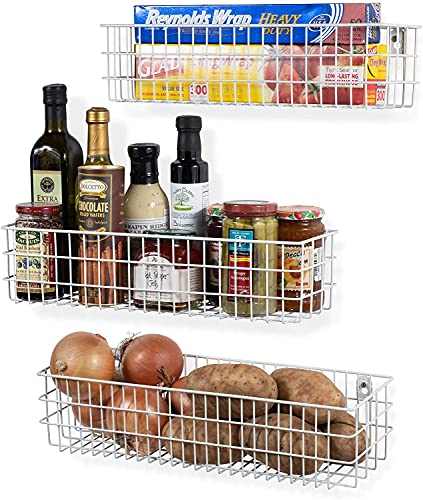 SHIOK DECOR® Wall Mounted Metal Wire Baskets for Kitchen Organization and Storage, Hanging Storage Basket for Fruit, Cloth, Vegetables and Decor Set of 3 White(Make in Indiawhite)