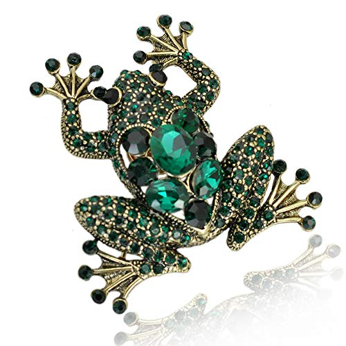 Crystal Frog Brooches for Women Green Color Animal Brooch Pin Luxury Vintage Coat Accessories Bijouterie