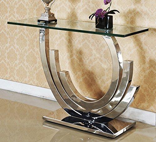 HG Royal Estates Obsidian Designer Spiegelkonsole Edelstahl Schminktisch Konsolentisch Konsole Glas