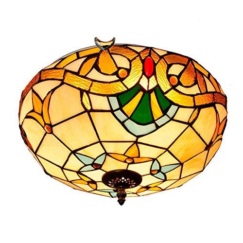 IGOSAIT Lámpara de techo, Creativo Mediterráneo Vintage Tiffany Vidrieras Pasillo Balcón Foyer Dormitorio Luz de Techo 40CM Tiffany Style Lámparas de Techo Tiffany Lámparas de Techo Luces de Techo