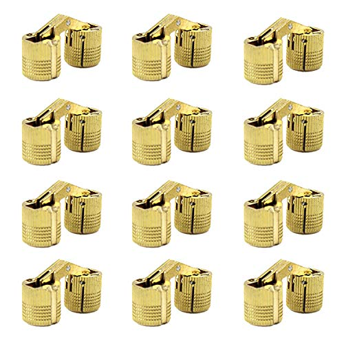 MIAO JIN 12 Pcs 10mm Brass Barrel Hinges Hidden Invisible Cabinet Furniture Hinges Concealed 180 Degree Opening Angle