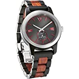 Wilds Mens Wooden Watch - Wood Grain Watch- Stainless Steel Bezel - Small Seconds Sub-dial - Premium Japanese Quartz Movement - Lightweight Watch - Men's Gift Ideas - Band Adjustment Tool Included