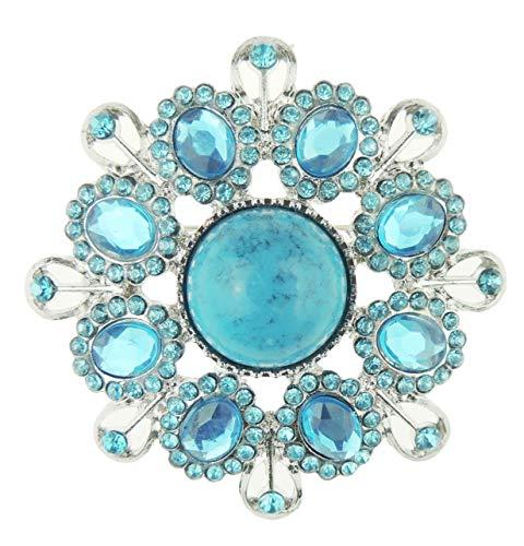 Glamour Girlz Türkis & Blau Strass Kristall Vintage Runde 6cm Brosche