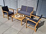 vanvilla Loungemöbel GREENBURGH Gartenmöbel Set Holz Sitzgruppe Garten Garnitur 1 Tisch 1 Bank 2 Sessel Sitzauflage Grau …