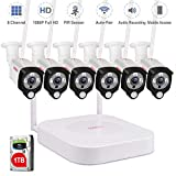 Tonton 1080P HD Audio Funk Überwachungskamera System Wireless 8CH NVR Überwachungssystem mit 6 Außen 1080P 2.0MP WLAN Outdoor Netzwerk IP Kamera mit Tonaufnahme PIR Sensor 1TB Festplatte inklusive
