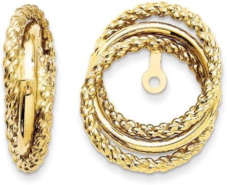 14K Yellow Gold Polished & Twisted Fancy Earring Jackets