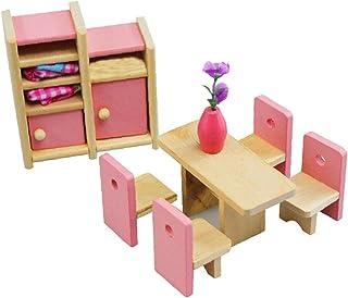 Ensemble De Meubles De Poupée En Bois - Jouet En Bois 1:12 Échelle Miniature Salle À Manger Ensemble Diy Doll House Access...