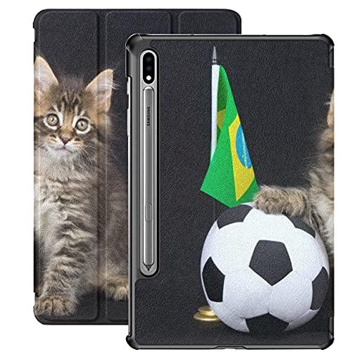 Cute Funny Cat with Flag Funda Samsung Galaxy Tab A para Samsung Galaxy Tab S7 / s7 Plus Funda Samsung Tablet Stand Carcasa Trasera Samsung Galaxy Tab S7 Plus Funda para Galaxy Tab S7 11 PU