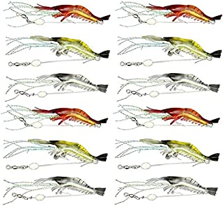 Soft Fishing Luminous Shrimp Lure with Hook Swivel Artificial Silicone Fishing Bait for Freshwater Saltwater Bass Trout Catfish Salmon (12pcs)