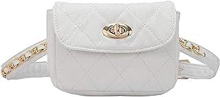 Goodbag Boutique Fashion Women Waist Bag Faux Leather Embroider Lattice Pattern Mini Fanny Pack (White-L(Belt 95cm))