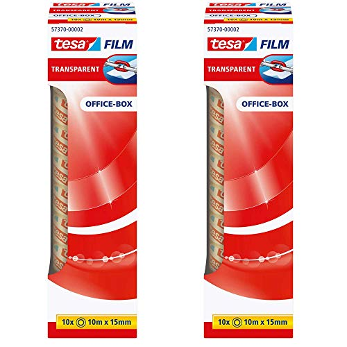 tesafilm® 57370 Klebefilmrollen transparent in praktischer 10 Rollen Office Box, 10m x 15mm (2er Pack = 20 Rollen)