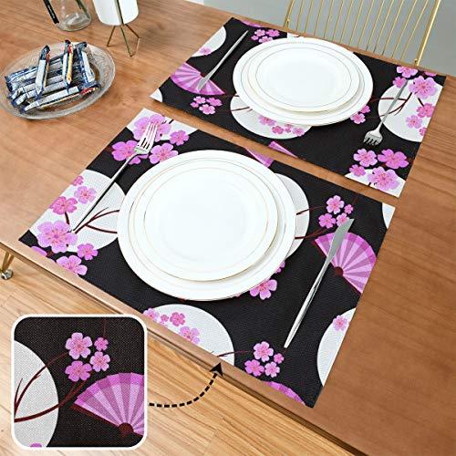 Tischset Muster asiatischen Stil Japanisch Chinesisch, hitzebeständige rutschfeste Tischsets, geeignet für Esstisch Home Kitchen Office und Outdoor, 6er-Set