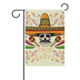 LINDATOP Gartenflagge Totenkopf mit mexikanischem Hut, 30,5 x 45,7 cm, doppelseitig, Hof-Dekoration, Polyester Outddor Flagge Home Party, Polyester, Multi, 28x40(in)