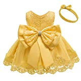 TUIJI Toddler Baby Party Christmas Easter Dresses Birthday Wedding Little Flower Girl Ruffled Pageant Formal Dress 18M Yellow