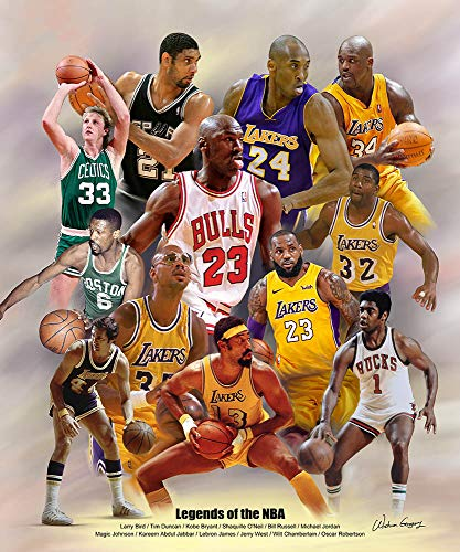 Wishum Gregory, Legends of the NBA - Art Print Poster, Paper Size 20' x 16' Image Size 20' x 16'(3119)