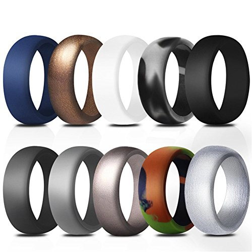 PAMTIER Band Silicone Rings for Men 10 Pack Rubber Wedding Bands Size P