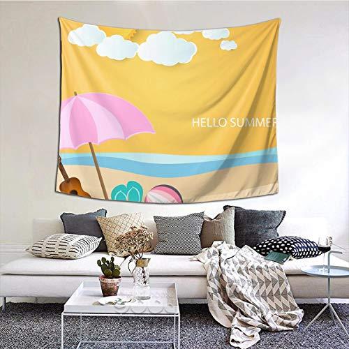 N/A Tapisserie Wandbehang, Ball Gitarre und Sandeln unter Regenschirm am Strand, Wandteppich, Heimdekoration für Wohnzimmer, Schlafzimmer, Wohnheim, 152,4 x 129,5 cm