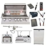 Lion 40-Inch Natural Gas Grill L90000 with 30-Inch Bar Center w/Top Shelf and Refrigerator and Drop-in Sink and 5 in 1 BBQ Tool Set Best of Backyard Package Deal