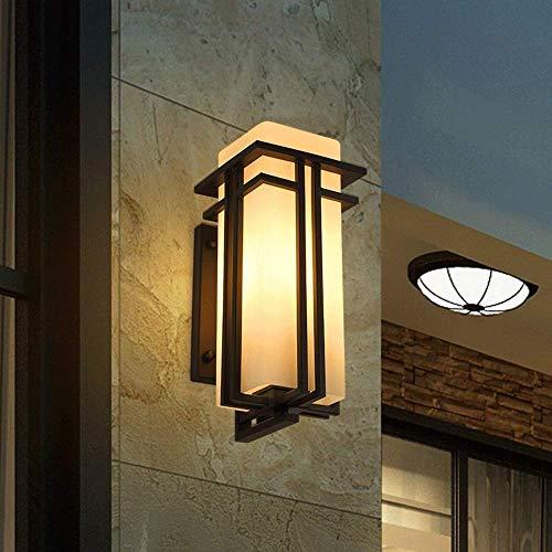HYRGLIZI Luces LED (Tamaño: Alto 31CM) Luz cálida Lámpara de Pared de Hierro Forjado de Metal para Exteriores IP54 Lámpara de Pared de Vidrio Impermeable Puerta de Patio Puerta de balcón E27 Edison F