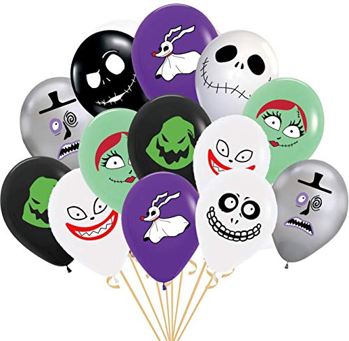 24PC LATEX jack skellington nightmare b4 before xmas christmas BALLOONS PARTY SUPPLIES DECORATION THEME SIDE THE BIRTHDAY A2