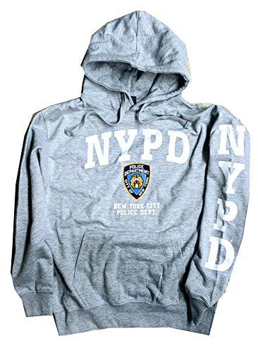 NYPD Kapuzenpullover mit weißem Ärmel, Gr. L, Grau