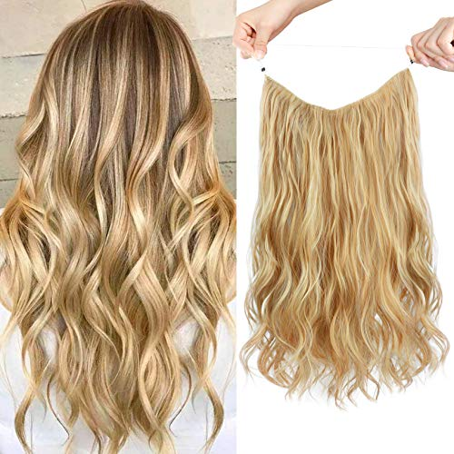 HOOJIH Halo Hair Extensions 3 Ways Adjustable Head Size Curly Wavy Halo Wigs 16 Inch 110 Gram Hidden Crown Invisible Secret Extensions for Women - Medium Golden Blonde