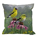 HGOD DESIGNS Art Bird Pillow Cover, Yellow Finch in Field Decorative Pillow Case Cotton Linen 18X18 Inch for Home Ofiice Sofa Chair