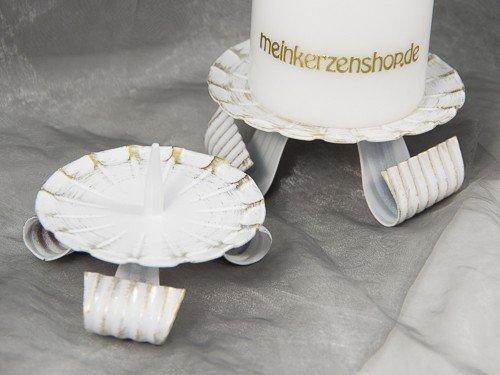 Kerzenteller Kerzenständer Kerzenhalter Hochzeitskerze Taufkerze Gold 16805, Größe:10 cm