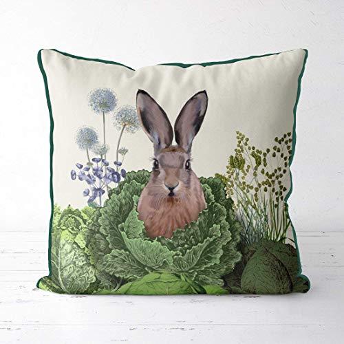 saletopk Kaninchen-Kissen, Hasenliebhaber, Kaninchendekoration, Kraubflicken, Wald, Kinderzimmer, Frühjahrskissen, Geschenk für Kaninchenliebhaber, Kaninchen-Kissen