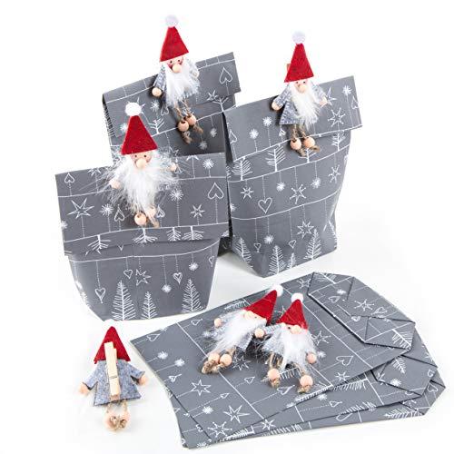Logbuch-Verlag 6 Weihnachtstüten grau weiß mit Wichtel Klammer - Wichtelgeschenk Verpackung Wichteltüte Nikolaussackerl