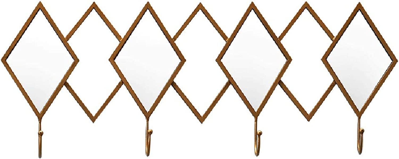 Coat Rack Hook 62cm Simple Bedroom end Hook Creative Home Practical Bathroom Hook Porch Clothing Hook Diamond Mirror Coat Hook (color   Metallic, Size   62  24CM)
