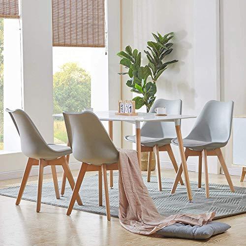 H.J WeDoo Esszimmergruppe mit Esstisch und 4 Essstühlen, Rechteckig Esstisch mit 4 Esszimmerstühle Geeignet für Esszimmer Küche Wohnzimmer, Weiß Esstisch und Grau Stühle