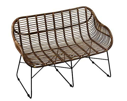 animal-design Rattansofa Venus Korb-Sofa - braun - Retro 50er Lounge Loft Esszimmer Garten Küche Bistro Balkon Terrasse mit Armlehne, Farbe:braun