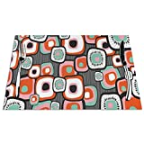 GULTMEE Placemats Heat-Resistant Stain Resistant Anti-Skid Washable PVC Table Mats,Funky Square Shaped Lava Flowers with Abstract Inner Forms Print 1 PCS