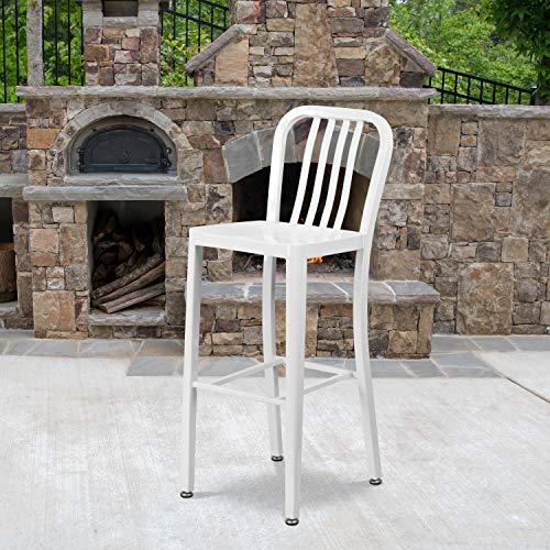 Barhocker, Metall, 76,2 cm Sitzhöhe, Rückenlehne mit vertikalen Latten, für Innen- und Außenbereich, ideal für die gewerbliche Nutzung, Weiß, 2 Stück