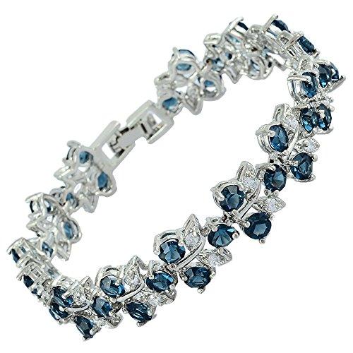 Rizilia Tenis Pulsera [18cm/7inch] con Corte Redondo Piedras Preciosas Circonita CZ [Zafiro Azul] en 18K Chapado en Oro Blanco, Elegancia Moderna Sencillo