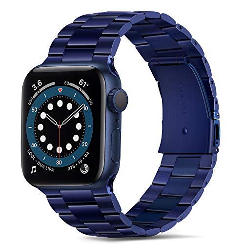 Tasikar per Cinturino Apple Watch 42mm 44mm Alta qualità Acciaio Inossidabile Cinturino di Ricambio Compatibile con Apple Watch SE Serie 6 Serie 5 Serie 4 Serie 3 Serie 2 Serie 1 - Blu