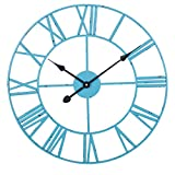 Zsefv Reloj de Pared de Estilo Europeo Reloj de Pared Creativo Reloj Redondo Decoración de la Sala de Estar Reloj de Pared silencioso Reloj de Pared de hierro-50cm (20 Pulgadas) Azul