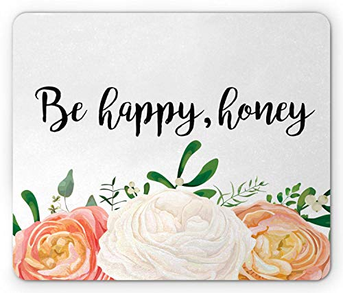 Bloemen muis pad, Wees blij honing inscriptie en 3 grote pioen Eucalyptus tak op effen achtergrond, rechthoek anti-slip rubber muismat