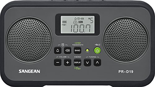Sangean PRD19BK FM Stereo/AM Digital Tuning Portable Radio with Protective Bumper Gray/Black