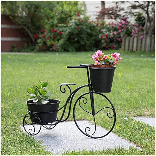 """Glitzhome Metal Standing Planter Hand Painted Flower Holder Fall Home Decor Black, 20.75"""" H"""