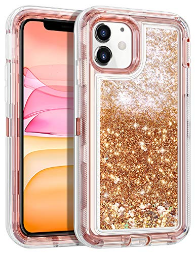 Wollony for iPhone 11 Case Glitter, Heavy Duty Girly Liquid Bling Quicksand 3 in 1 Hybrid Impact Resistant Shockproof Hard Bumper Soft Clear Rubber Protective Cover for iPhone 11 6.1inch Rose Gold